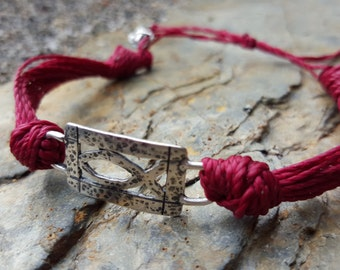 Chunky knotted braided indie bracelet in deep red with REAL artisan Silver charm