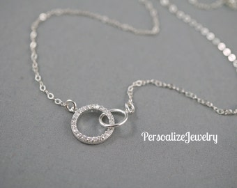 Infinity interlocking circles necklace, CZ infinity necklace, Sterling silver necklace, Gift for Girlfriend, Best friends, Special someone