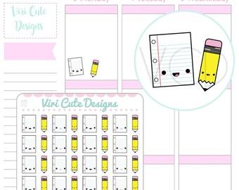 Kawaii Paper & Pencil Planner Stickers, Homework Stickers, School Stickers, Writing Stickers, ...