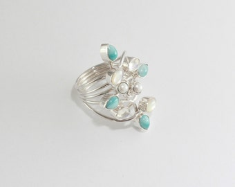 blue larimar and moonstone ring sterling silver 925