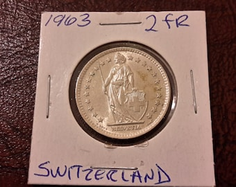1963 2 FR Switzerland Silver Coin