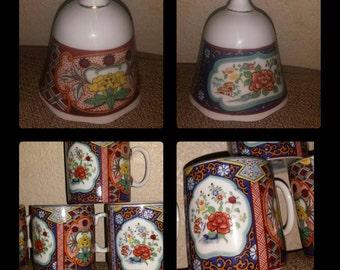 Imari ware Japanese mugs x 4 and 1 matching dinner bell