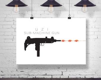 Wall Decor - Uzi Sub Machine Gun - Minimalist Art Print - Instant Art - Digital Download