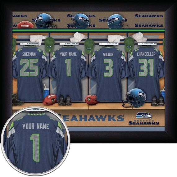Framed Jerseys From Sports Themed Teen Bedrooms To: Seattle Seahawks Personalized NFL Football Locker Room Jersey