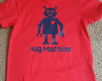 Robot t shirt, hug machine t shirt, red and blue robot shirt