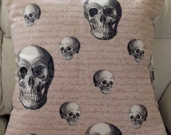 Digital Pop Art Skull Print Linen Black Grey Cushion Cover