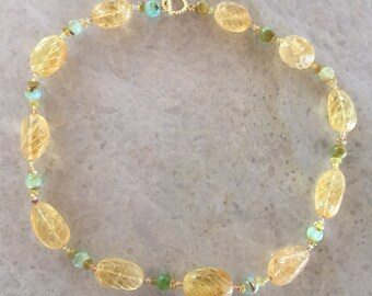 Citrine Opal and Sapphire Necklace