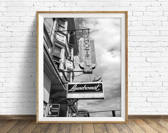 "black and white photography, large art, large wall art, instant download printable art, digital download, art print, gray - ""Laundromat"""