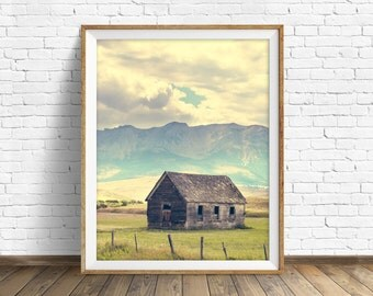 "landscape photography, large art, large wall art, instant download, instant download printable art, mountains, wall art - ""Mountain Cabin"""