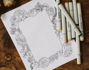 Floral Frame coloring single page; adult coloring book page; instant digital pdf download