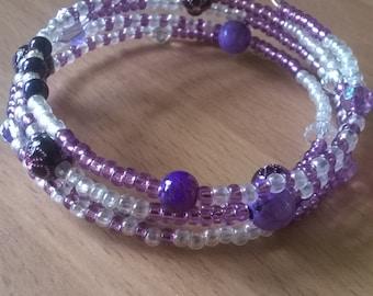 purple memory wire bracelet, sparkly beaded bracelet