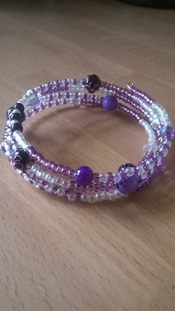purple memory wire bracelet sparkly beaded bracelet