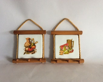 Set of two kitchen peg framed tiles with cord, wall hanging, vintage decorations