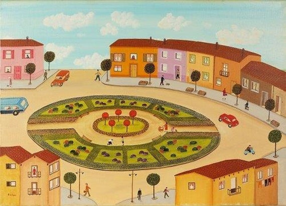 De ronde square a3 art print van olie verf naive kunst folk - Kwekerij verf ...