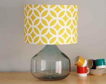 Geometric Yellow, 30cm diameter Drum Lampshade