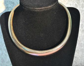 Vintage Wide Choker, Gold Toned, Vintage Choker, Wide Choker, Wide Necklace, Gold Choker, 17 Inch Necklace, Gold Necklace GS737