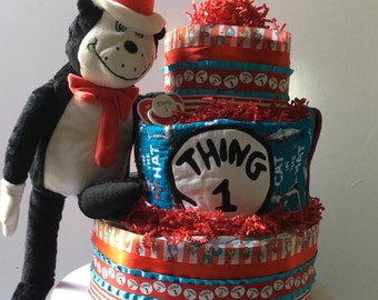 Cat in The Hat Diaper Cake