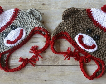 Sock Monkey Hat, Newborn Sock Monkey Hat, Crochet Sock Monkey Hat, Toddler Sock Monkey Hat, Boys Sock  Monkey Hat