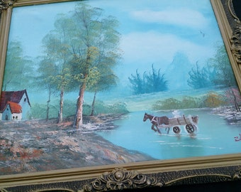 Large Original Vintage Oil Landscape Painting in Richly Decorated Gilded Wooden Frame. Landscape Oil on Canvas Framed Picture ROP0082