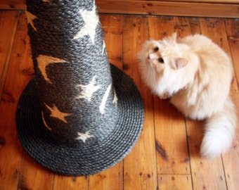 Handmade Huge Sisal Cat Scratching Post - The Wizard's Hat: Magic Edition - Choose Your Favourite Colour