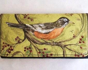 Green Bird cotton fabric wallet, clutch, trifold