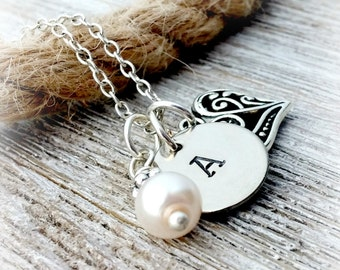 Personalized Initial Necklace, Silver, Pearl, Mother's Day