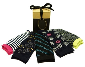 Womens Sock Gift Box B- 5 Pairs Cotton & Bamboo Socks, Gift socks with box and ribbon, ready to gift