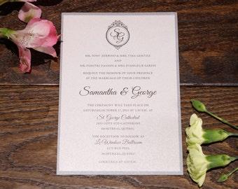 Bilingual wedding Invitation, Bilingual Invitations, bilingual Wedding Invitations, Silver Invitation, Script invitation, Bilingual