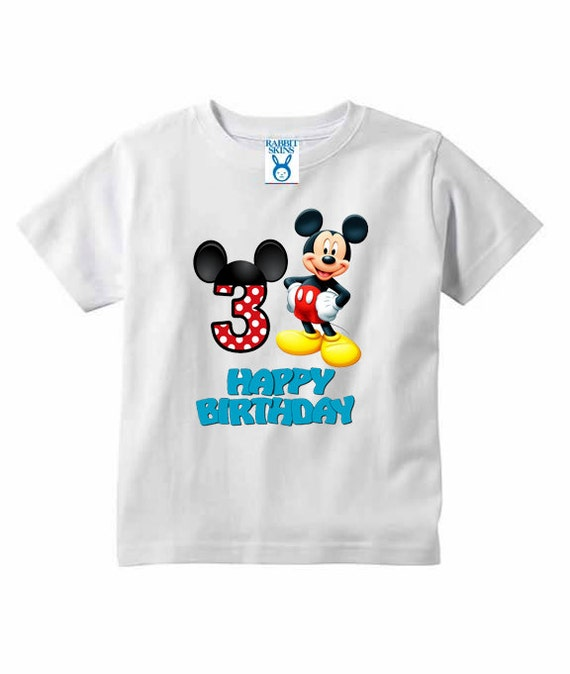 Mickey Mouse Birthday Shirt Toddler T-Shirt Short Sleeve.Great