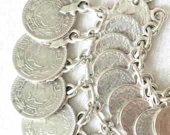 silver anklet, charm anklet, silver charm anklet,  boho anklet, bohemian anklet, coin anklet