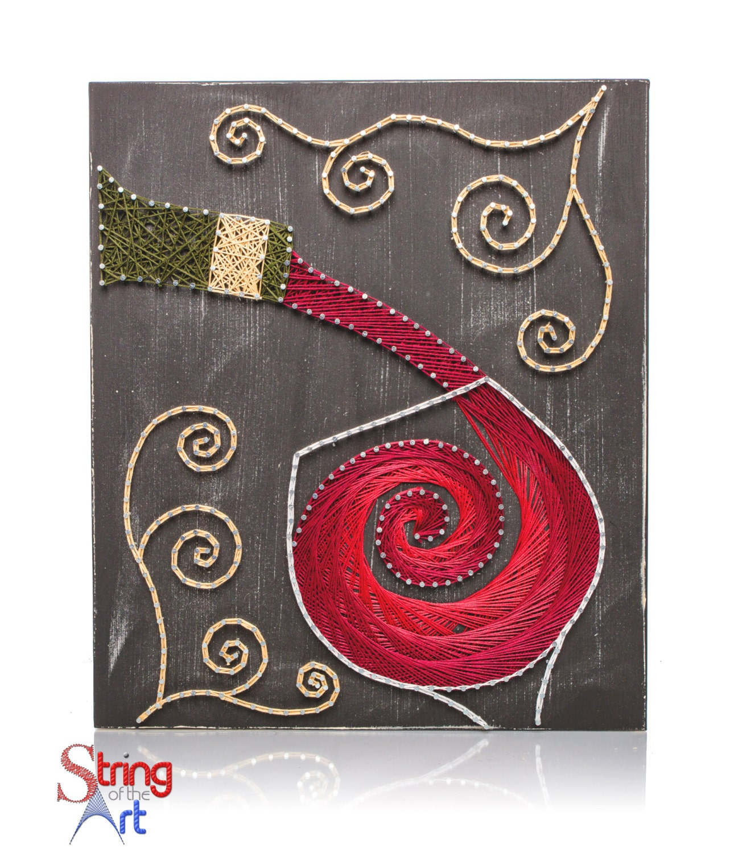 String Art: String Art DIY Kit, Red Wine, DIY Crafts, Home Decor, Wine