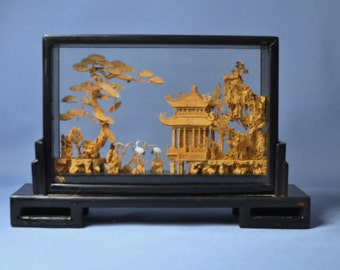 Antique Chinese Cork Craving/ Sculpture Hand Carved Lacquer Frame DSC_00338b