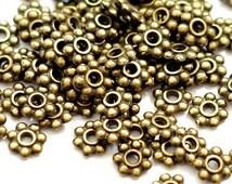 50 metal beads 6 mm bronze