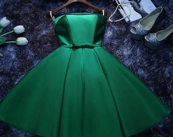 Emerald Green A-Line Dress, Green Bridesmaid Dress, Corset Back Dress, Green Vintage Dress, Sweet 16 Dress, Green Bow Dress, New Year Dress