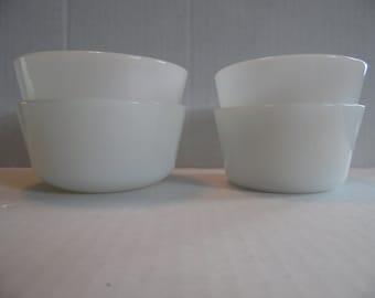 Set of 4 Vintage Glasbake /Anchor Hocking Custard Pudding Milk Glass Cups,Ramekins Cups