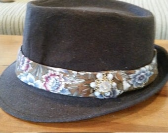 Fedora Hat with Vintage Brooch-Talk of the Town