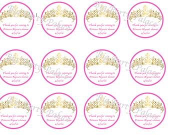 Princess shower thank you tags...download....printable file
