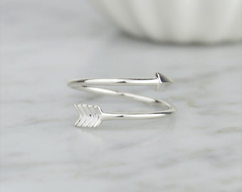 925 Sterling Silver Arrow Wraparound Band Ring - Minimal, Dainty, Cute, Wrap Ring