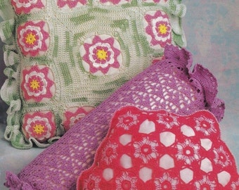Thread Pillows, Annie's Attic Home Decor Crochet Pattern 8B033 Floral & More