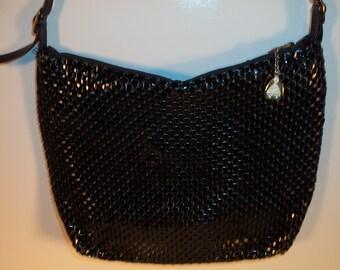 Mesh metal 80's punk disco purse holiday evening cocktail bag// Vintage Whiting & Davis long strap shoulder pocketbook//
