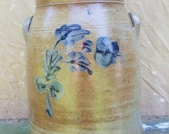 3 Gallon Antique Stoneware Crock Blue Flowers