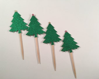 Glitter Christmas Tree Cupcake Toppers, set of 12