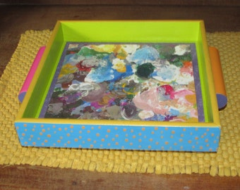Hand Painted Wooden Tray with Decoupage