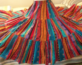 SALE Maxi Circle Skirt Colorful Ruffled Hem Southwestern Print Maxi Elastic Waist 3 Tier Skirt Summer Skirt Theme Party