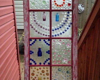 Up cycled recycled old vintage repurposed glass window