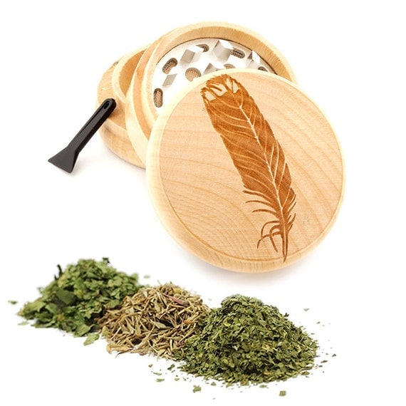 Feather Engraved Premium Natural Wooden Grinder Item # PW050916-131