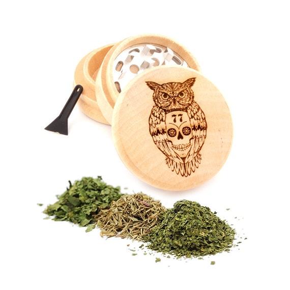 Skull & Owl Engraved Premium Natural Wooden Grinder Item # PW91316-24