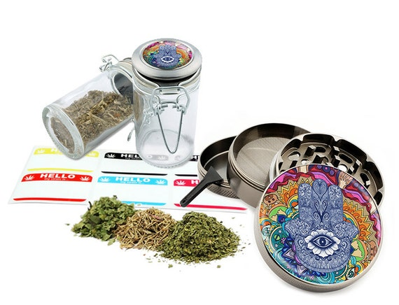"Hamsa - 2.5"" Zinc Alloy Grinder & 75ml Locking Top Glass Jar Combo Gift Set Item # G123114-0010"