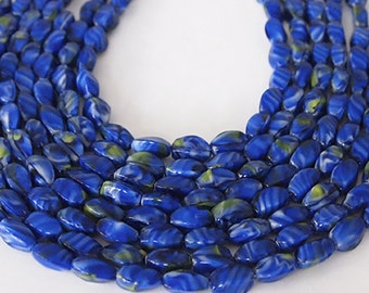 Strand Glass Beads Oval 4 Sided  Navy Blue Cobalt Swirl Size 13 x 6.5mm QTY 24 beads
