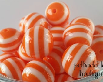 20mm |ORANGE| Stripe Beads | Orange and White | Bubblegum Beads | Bubble Gum Beads |Chunky Necklace Beads| DIY boutique Necklace